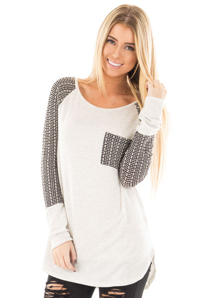 Light Grey Hi-Low Raglan Sleeve Top with Knit Front Pocket Detail front close up