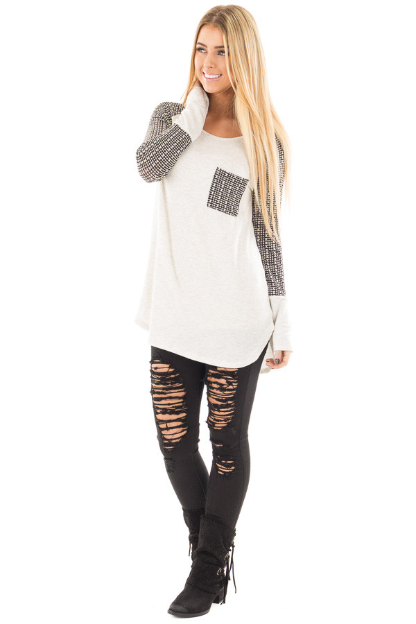 Light Grey Hi-Low Raglan Sleeve Top with Knit Front Pocket Detail front full body