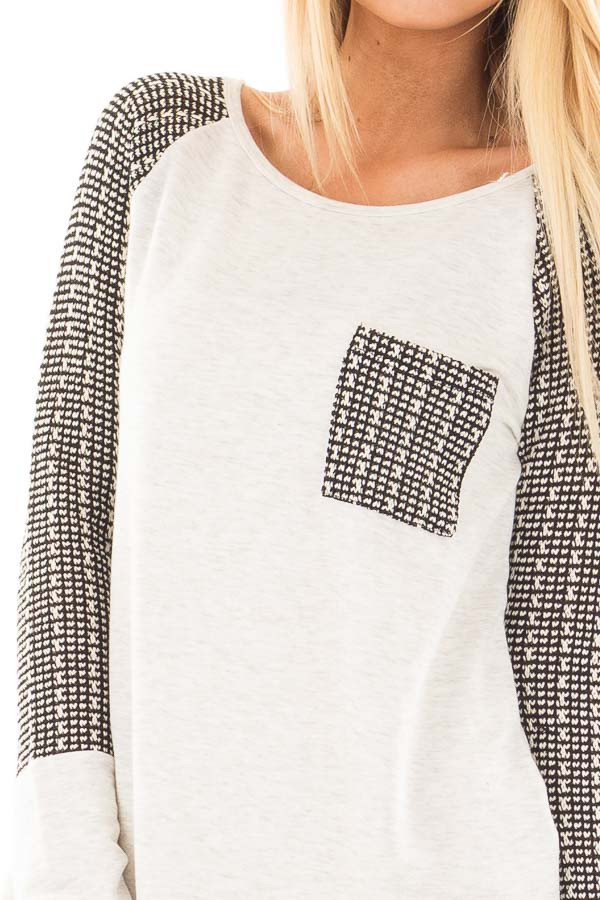 Light Grey Hi-Low Raglan Sleeve Top with Knit Front Pocket Detail detail