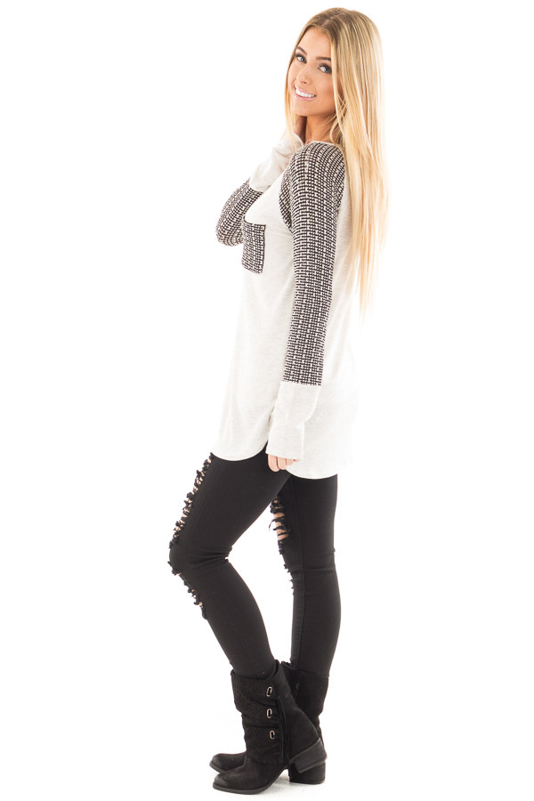 Light Grey Hi-Low Raglan Sleeve Top with Knit Front Pocket Detail side full body