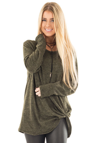 Olive Two Tone Knit Sweater with Twist Detail front close up