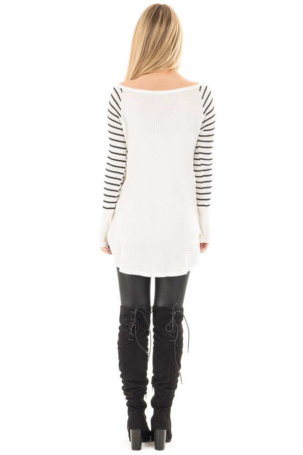Ivory Hi-Low Raglan Sleeve Top with Knit Front Pocket Detail back full body