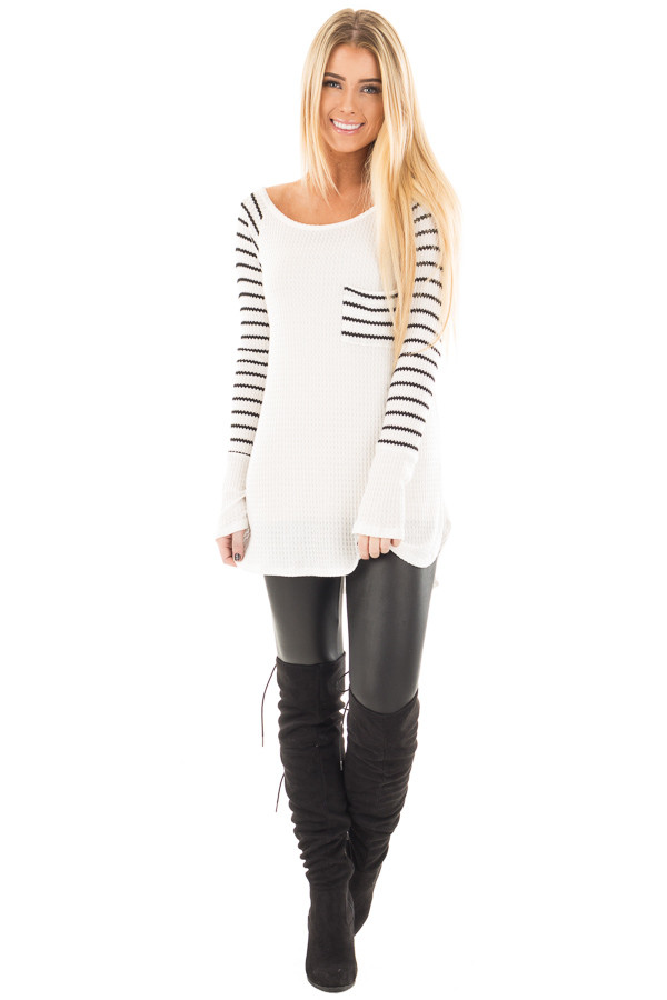 Ivory Hi-Low Raglan Sleeve Top with Knit Front Pocket Detail front full body