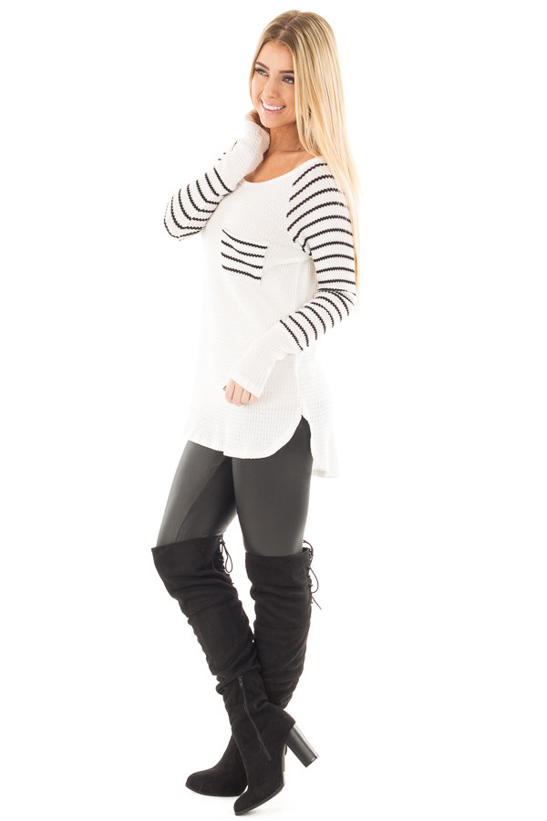 Ivory Hi-Low Raglan Sleeve Top with Knit Front Pocket Detail side full body