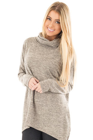 Taupe Two Tone Knit Cowl Neck Split Hem Tunic front close up