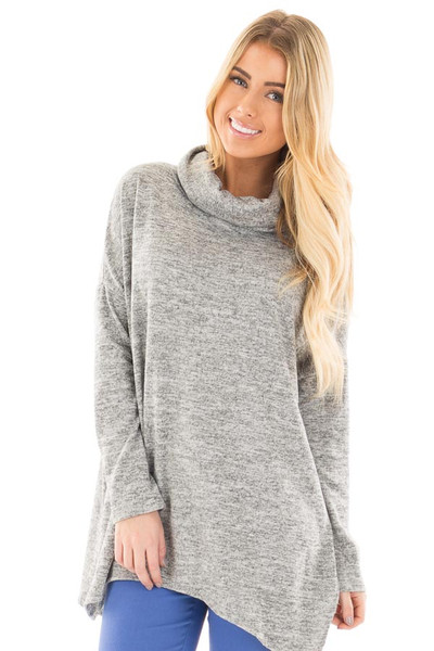 Heather Grey Two Tone Knit Cowl Neck Split Hem Tunic front close up