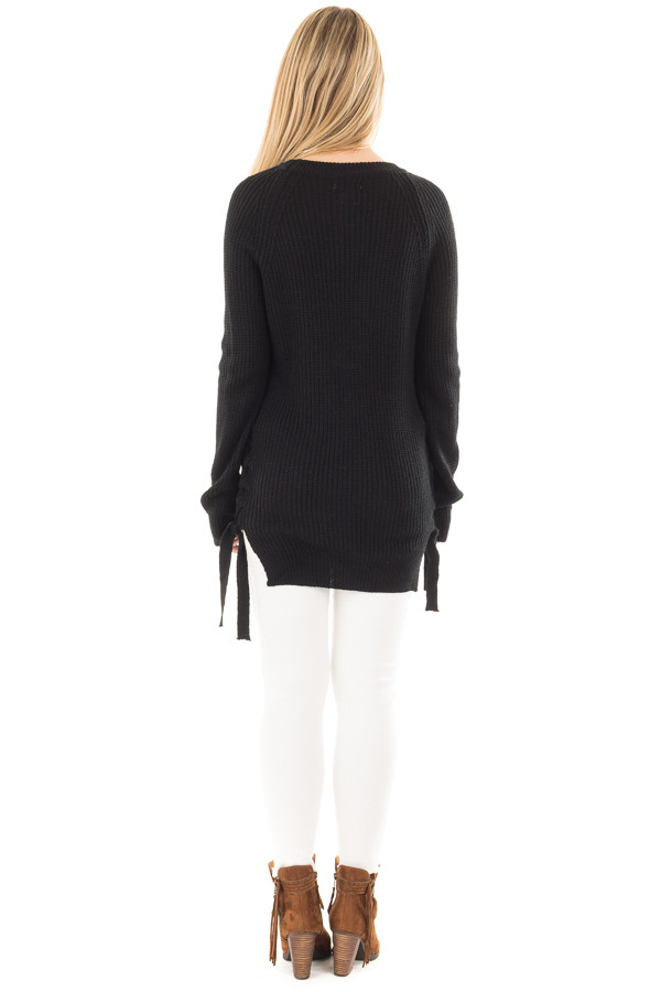 Black Long Sleeve Knit Sweater with Braided Side Detail back full body