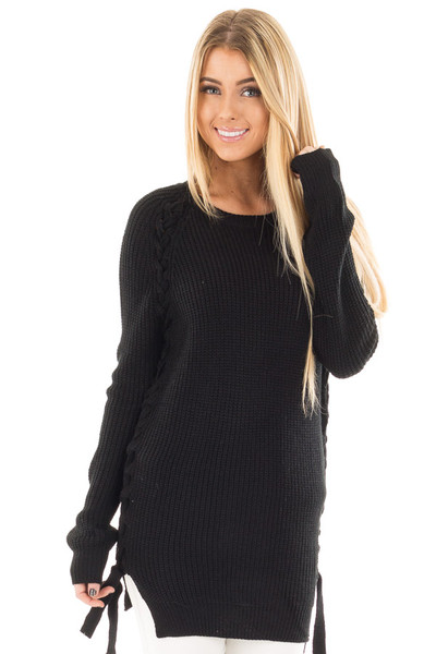 Black Long Sleeve Knit Sweater with Braided Side Detail front close up