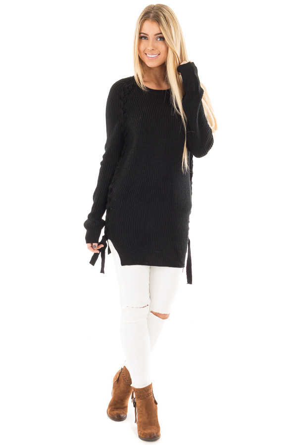 Black Long Sleeve Knit Sweater with Braided Side Detail front full body