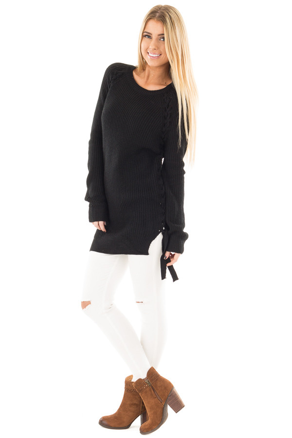 Black Long Sleeve Knit Sweater with Braided Side Detail front side full body