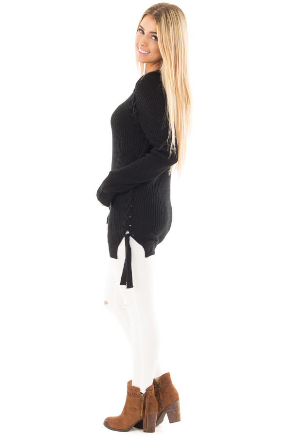 Black Long Sleeve Knit Sweater with Braided Side Detail side full body