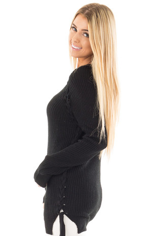 Black Long Sleeve Knit Sweater with Braided Side Detail side close up