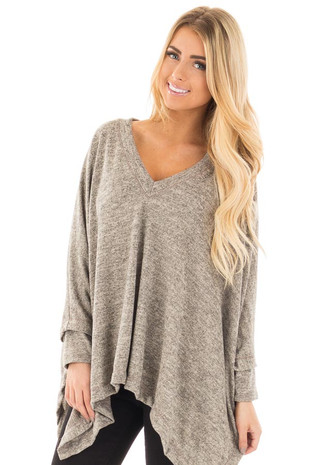 Taupe Knit V Neck Poncho with Asymmetrical Hem front close up