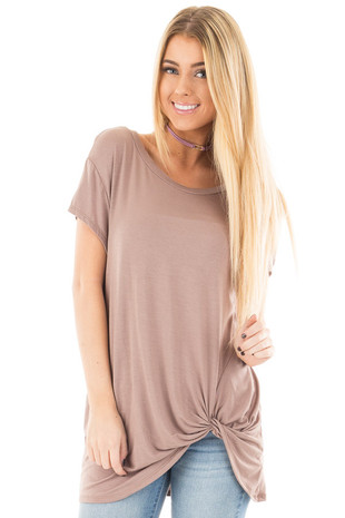 Mocha Draped Top with Twisted Front Detail front close up