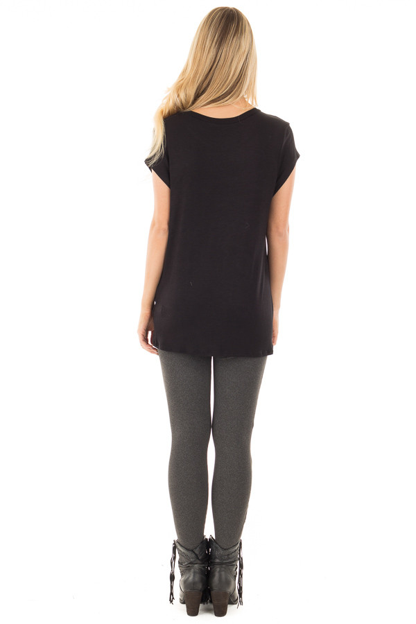 Black Draped Top with Twisted Front Detail back full body