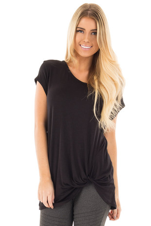 Black Draped Top with Twisted Front Detail front close up