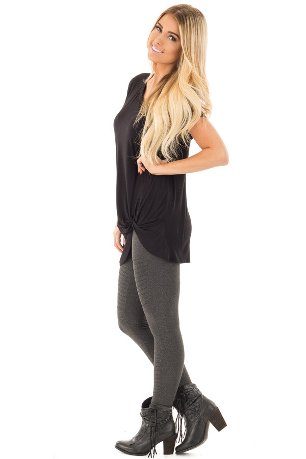 Black Draped Top with Twisted Front Detail side full body