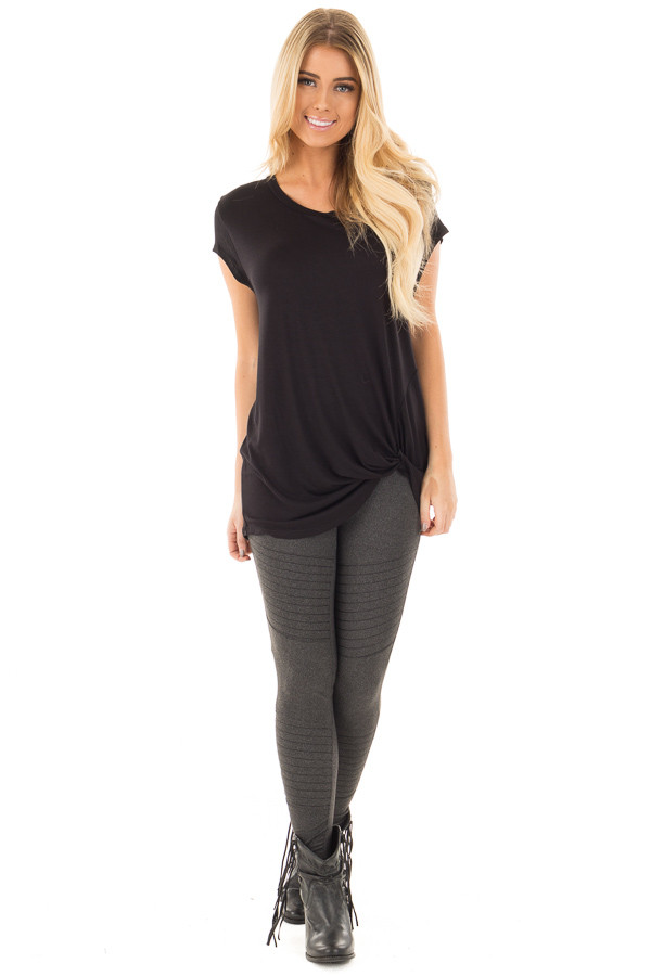 Black Draped Top with Twisted Front Detail front full body