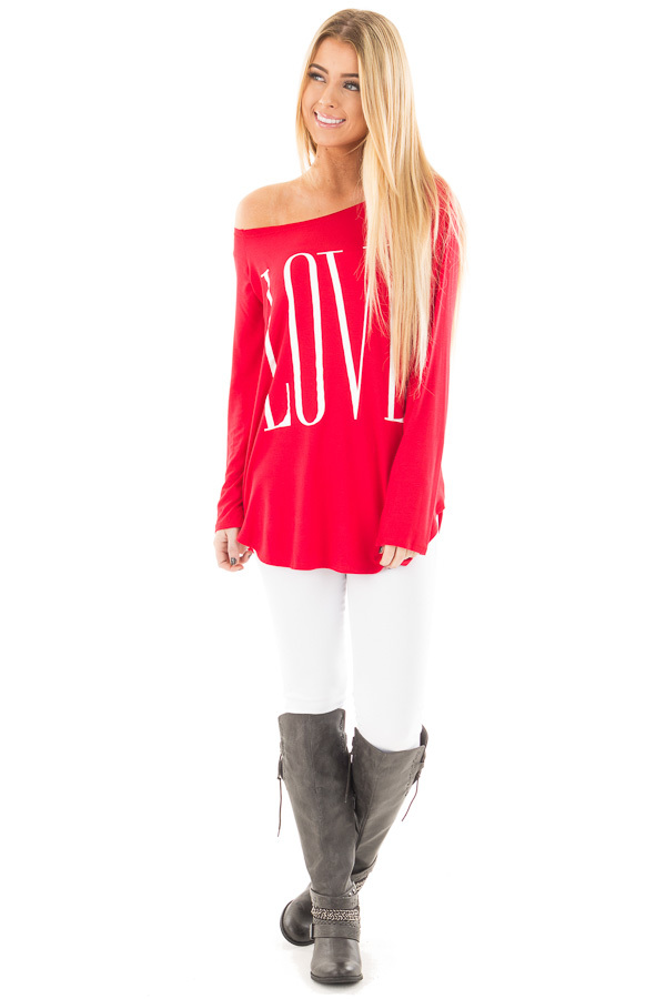 Red Off Shoulder Top with White 'Love' Print front full body