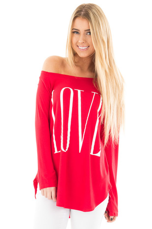 Red Off Shoulder Top with White 'Love' Print front close up