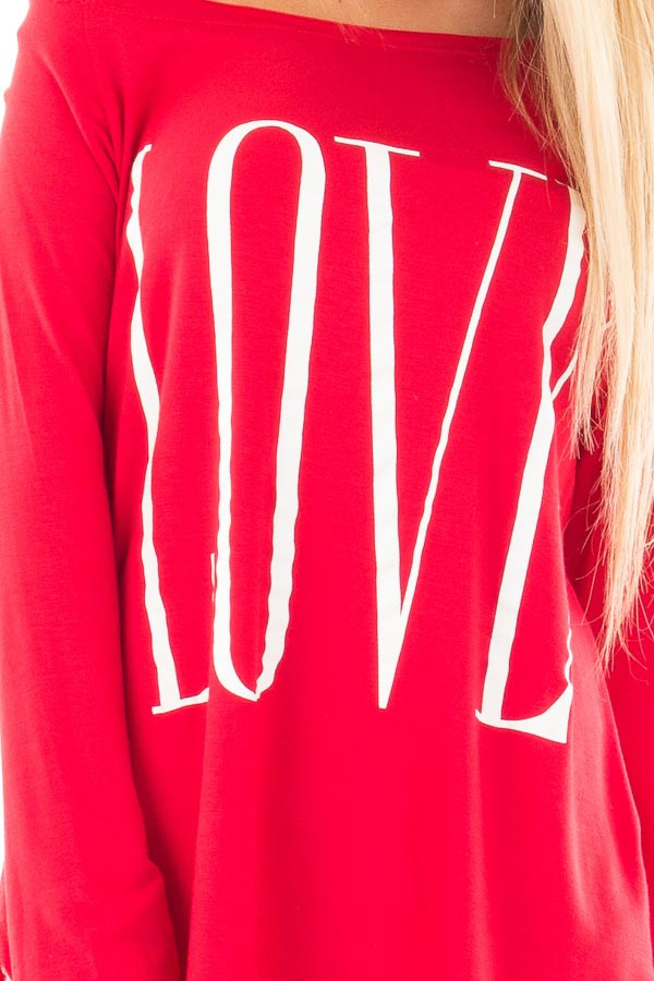 Red Off Shoulder Top with White 'Love' Print detail