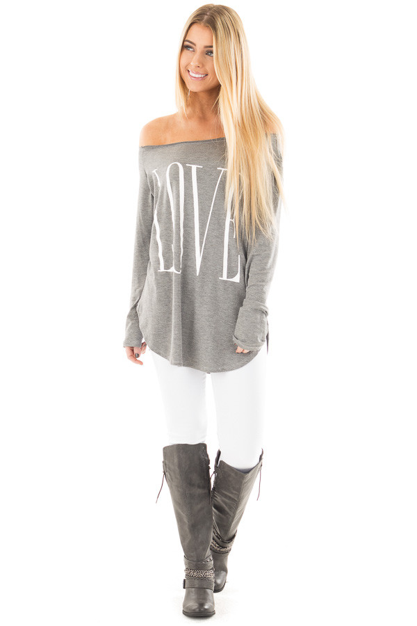 Heather Grey Off Shoulder Top with White 'Love' Print front full body