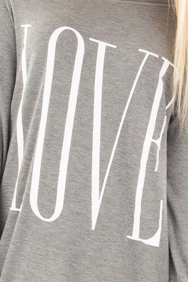 Heather Grey Off Shoulder Top with White 'Love' Print detail