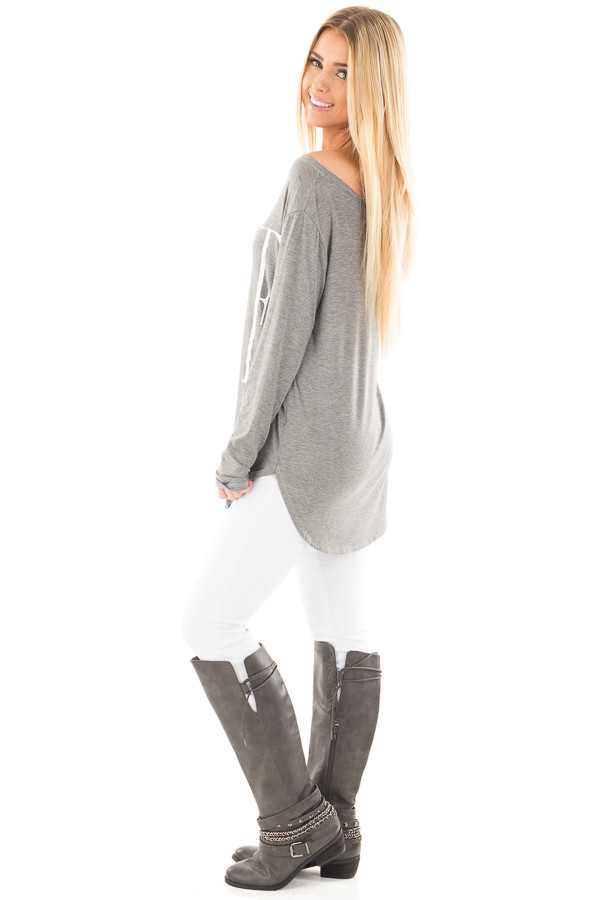 Heather Grey Off Shoulder Top with White 'Love' Print side full body