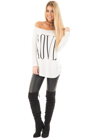 Ivory Off Shoulder Top with Black 'Love' Print front full body