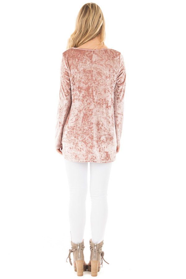Dusty Rose Crushed Velvet Top with Criss Cross Neckline back full body