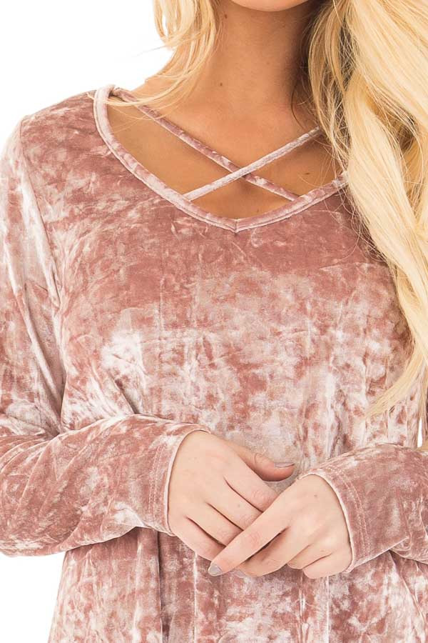 Dusty Rose Crushed Velvet Top with Criss Cross Neckline detail