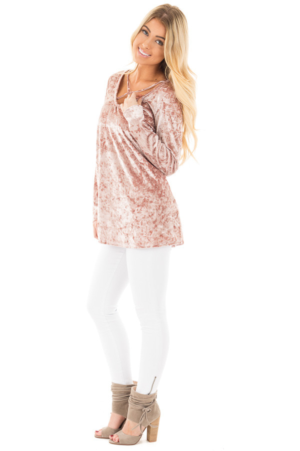 Dusty Rose Crushed Velvet Top with Criss Cross Neckline side full body