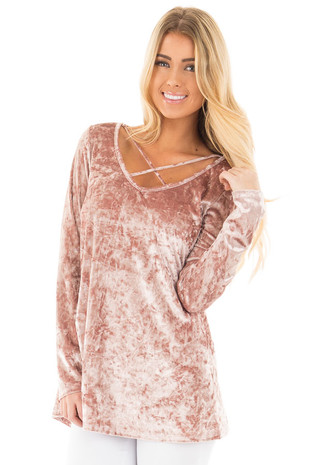 Dusty Rose Crushed Velvet Top with Criss Cross Neckline front close up