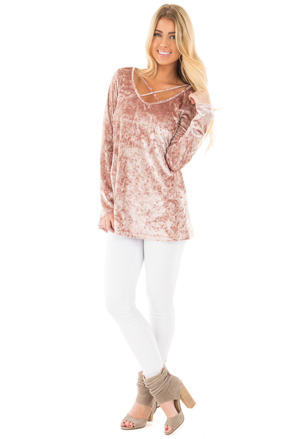 Dusty Rose Crushed Velvet Top with Criss Cross Neckline front full body