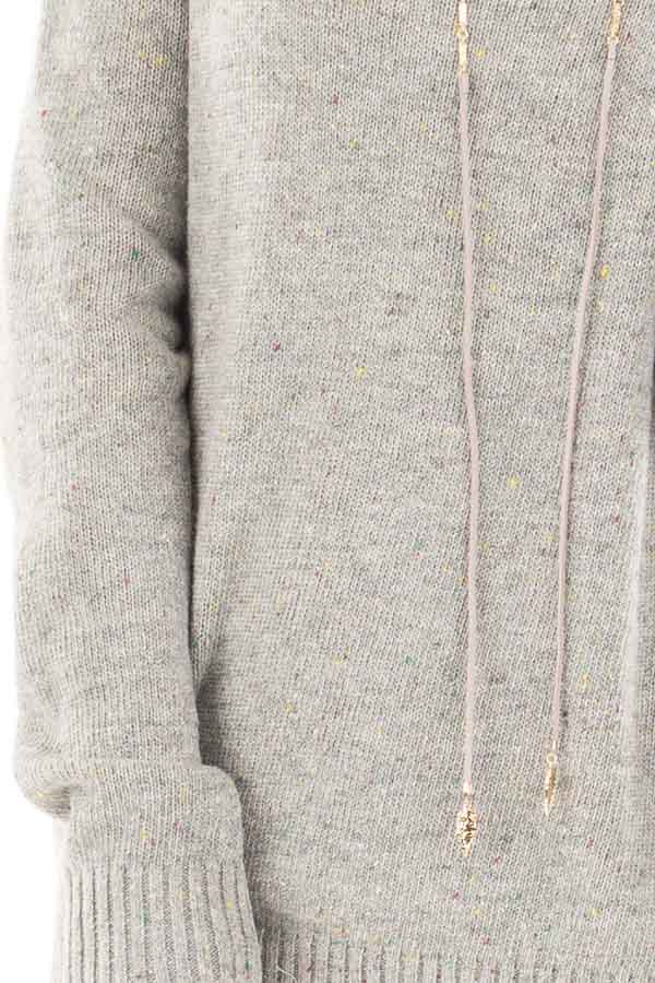 Heather Grey Cold Shoulder Sweater with Multi Color Detail detail