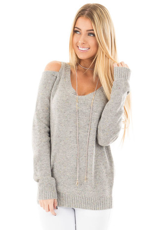 Heather Grey Cold Shoulder Sweater with Multi Color Detail front close up