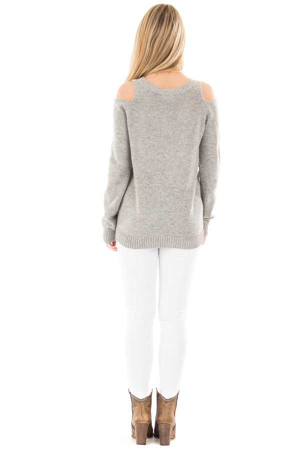 Heather Grey Cold Shoulder Sweater with Multi Color Detail back full body