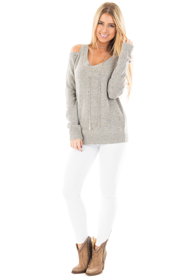 Heather Grey Cold Shoulder Sweater with Multi Color Detail front full body