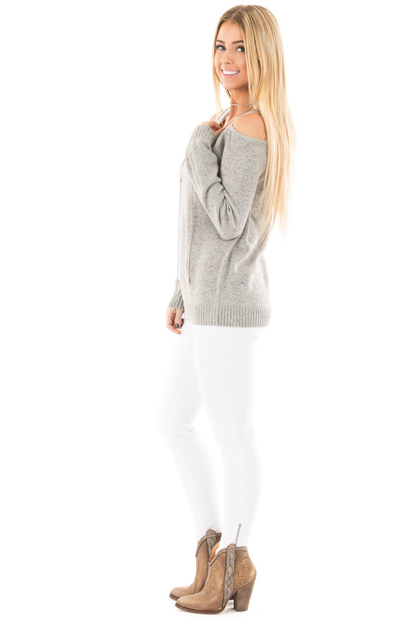 Heather Grey Cold Shoulder Sweater with Multi Color Detail side full body