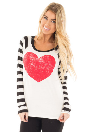 Ivory Striped Sleeve Raglan Tee with Red Heart Graphic front close up