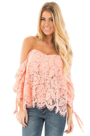 Peach Knitted Off the Shoulder Key Hole Back Top front close up