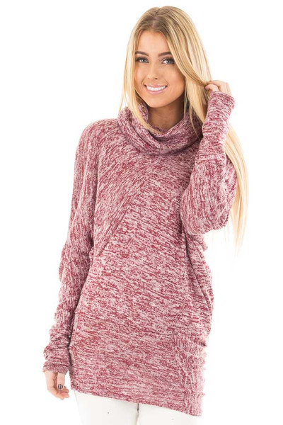 Burgundy Two Tone Turtleneck Asymmetrical Sweater front close up