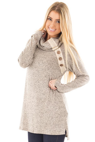Taupe Two Tone Turtleneck with Crochet and Button Detail front close up