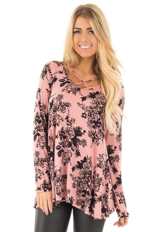 Rose Pink Floral Loose Fit Top with Criss Cross Neck front close up