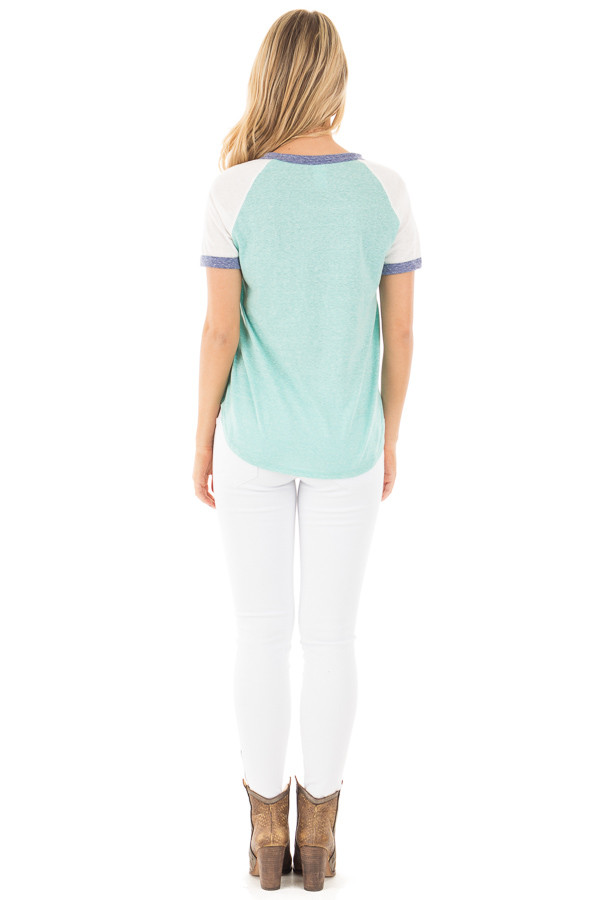 Aqua with White Baseball Cap Sleeve with Navy Trim Top back full body