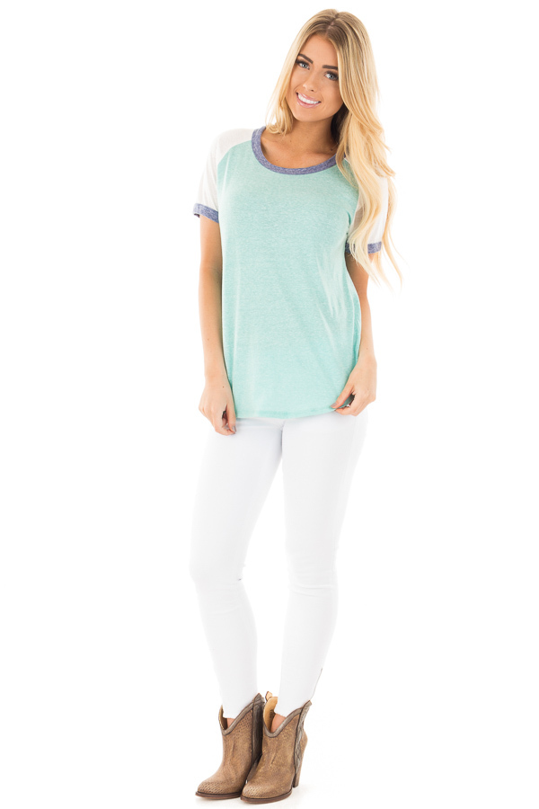 Aqua with White Baseball Cap Sleeve with Navy Trim Top front full body
