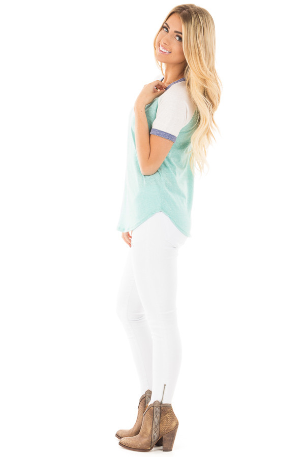 Aqua with White Baseball Cap Sleeve with Navy Trim Top side full body