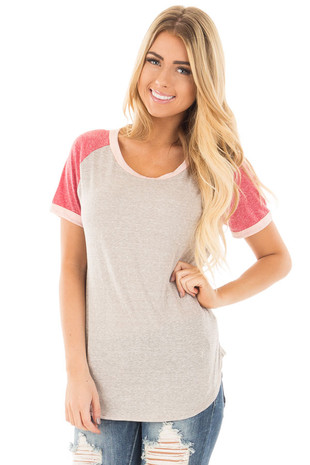 Taupe with Berry Baseball Cap Sleeve with Pink Trim Top front close up