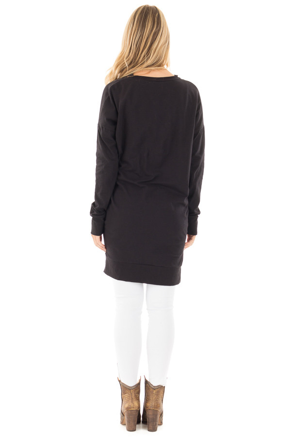Black Tunic with Criss Cross Neckline and Side Pockets back full body