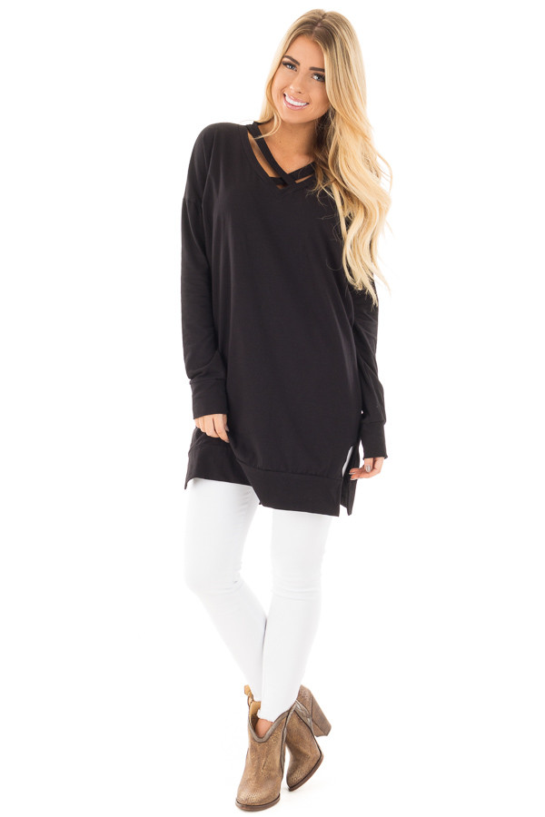 Black Tunic with Criss Cross Neckline and Side Pockets front full body